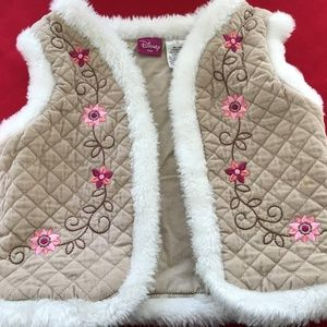 Disney Kids Quilted Vest Size 3T Tan Pink Flowers